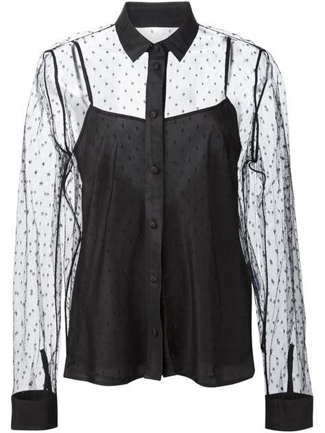 sheer black blouse valentino polka dot sheer blouse in black lyst