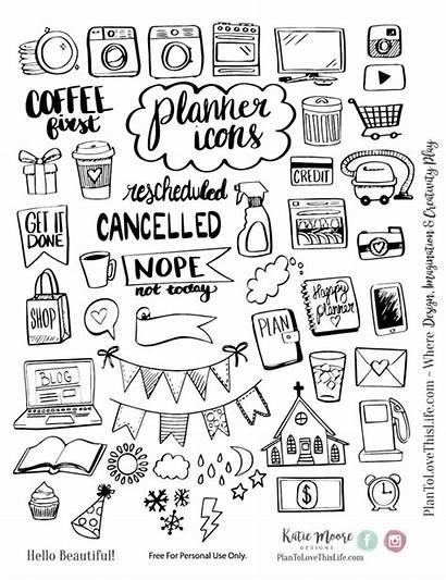 Planner Printable Icon Drawn Hand