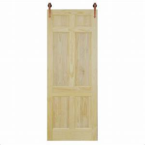 steves and sons 36 in x 96 in 6 panel unfinished pine With copper barn door hardware