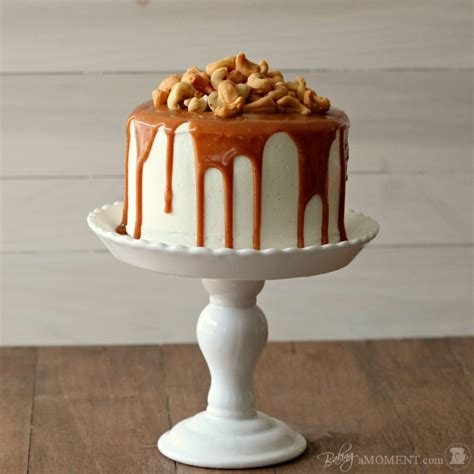 vanilla malt layer cake  cashews  salted caramel