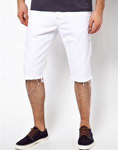 Mens White Jean Shorts - Trendy Clothes