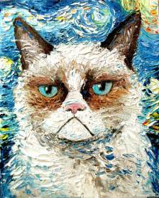 gogh cat grumpy cat gogh this starry portrait mashup