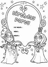 Birthday Coloring Party Invitation Happy Luna sketch template