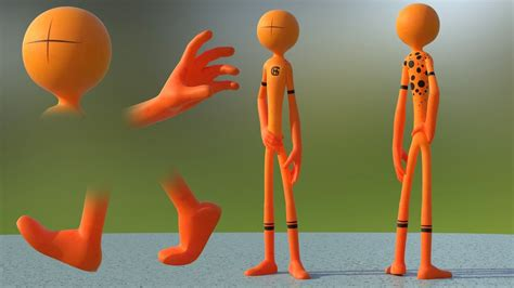 stickman character design modeling texturing rigging