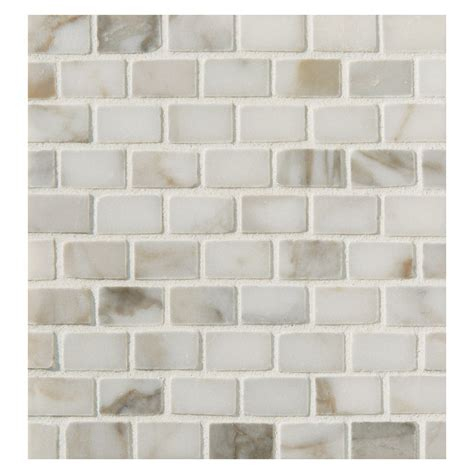 Of Pearl Mini Subway Tile by Mini Brick Mosaic Tile Polished Calacatta Marble