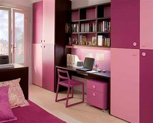 Sweet Pinky Girl's Room Design with Study Desk - Interior ...