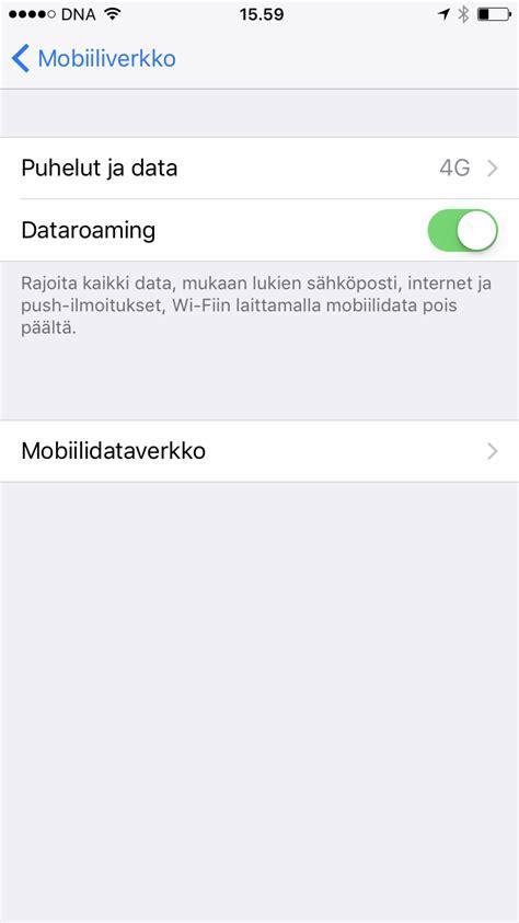 iphone dna asetukset