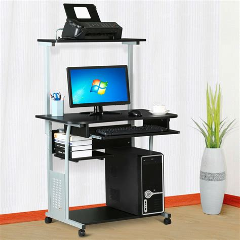 computer desks for rolling computer desk w printer shelf laptop writing