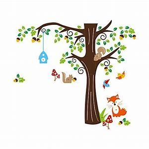 Wandtattoo Baum Kinder : songmics cartoon waldtiere kinderzimmer wandaufkleber ~ Whattoseeinmadrid.com Haus und Dekorationen
