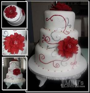 Red, Silver And White Wedding Cake - CakeCentral.com