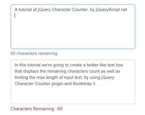 like text box character counter with jquery and