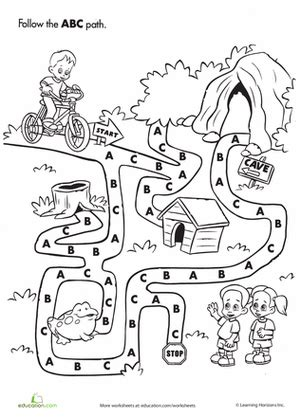abc maze worksheet education 726 | abc maze the alphabet preschool