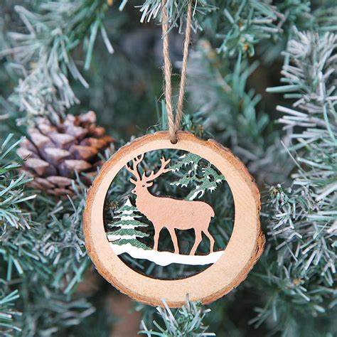 deer themed christmas tree decoration  red berry apple