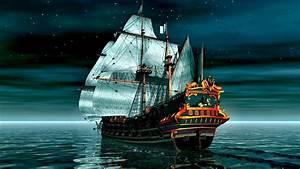 Sailing, Ship, Sea, Moon, Rays, Night, Digital, Art, Wallpapers, Hd, Desktop, And, Mobile, Backgrounds