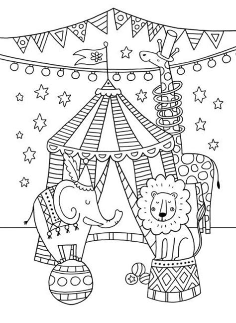 felicity french circus colouring card circus pinterest