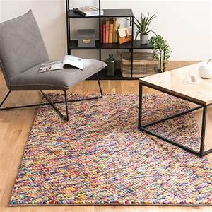 tapis en laine multicolore 140 x 200 cm rainbow maisons With tapis salon maison du monde