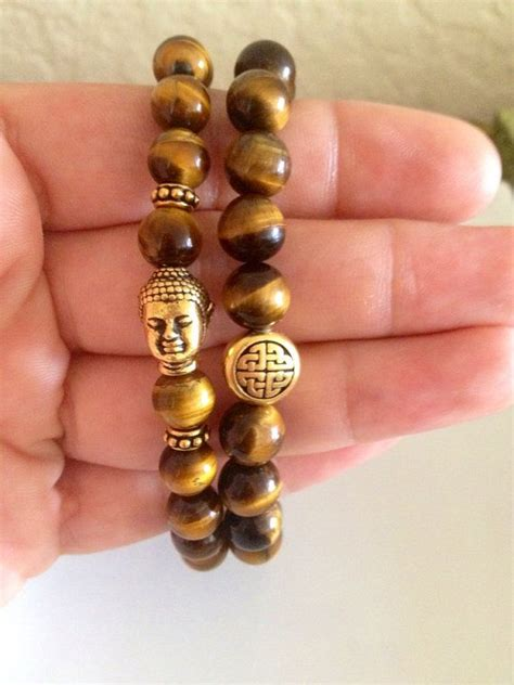 Eternal Knot Buddha Bracelet Set Bracelets Tiger Eye