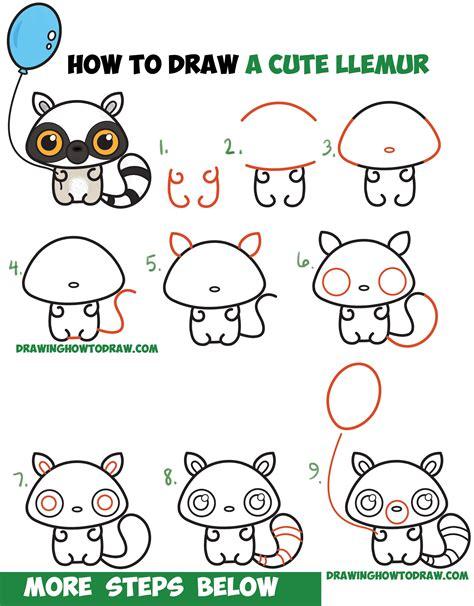 draw  cute cartoon lemur kawaii chibi