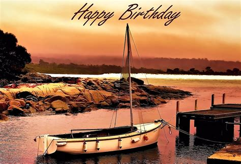Happy Boat by Quot Greeting Card Happy Birthday Boating Fishing