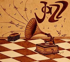 Gramophone Playing Jazz Music Painting With Coffee ...