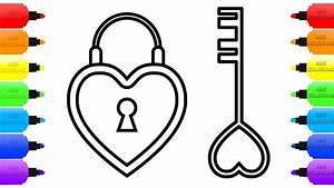Heart Lock and Key Coloring Pages for Kids | How to Draw ...