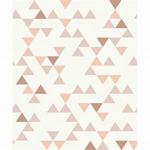 Papier Peint Rose Et Gris : papier peint motif triangle vieux rose scandinave grandeco ~ Dailycaller-alerts.com Idées de Décoration