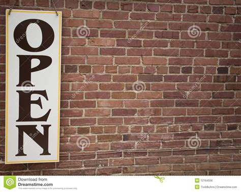 open brick wall open sign and brick wall royalty free stock image image