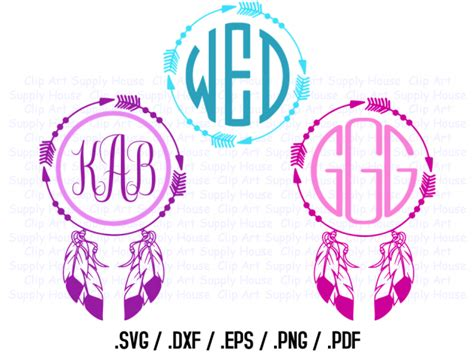 tribal feather circle monogram frame design files   silhouette software dxf files svg