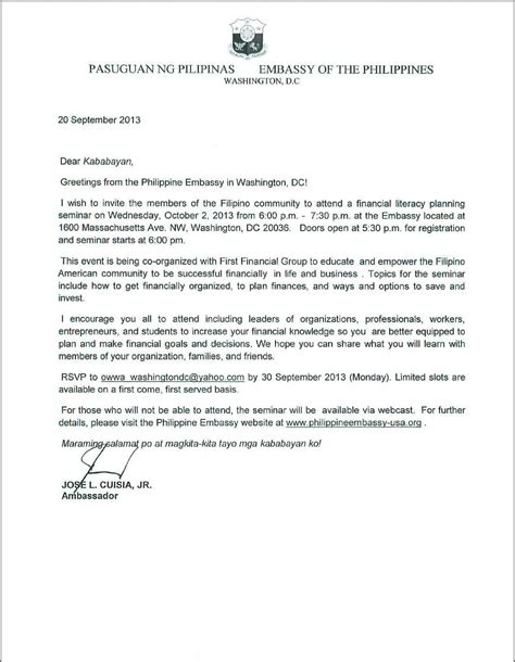 embassy   philippines announcements