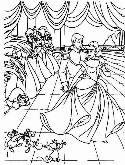 Coloring Pages Disney Princess Cinderella Printable Ball