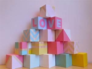 Cube En Bois Bébé : diy cubes en bois peints pour enfant blog d co clem around the corner ~ Dallasstarsshop.com Idées de Décoration