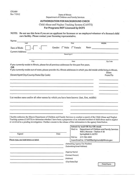 Criminal Background Check Illinois Background Check For Employment Form