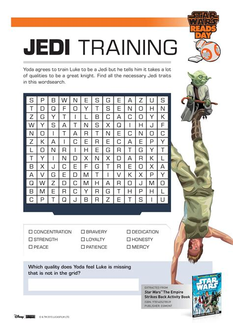 printable wars activity sheets wars jedi word