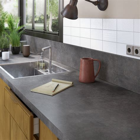 plan de travail cuisine plus plan de travail stratifié effet métal vieilli mat l 300 x