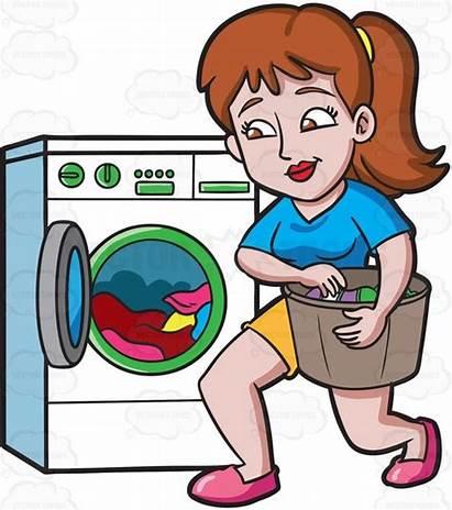 Washing Clothes Clipart Cartoon Machine Woman Laundry