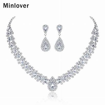 Necklace Crystal Sets Teardrop Bridal Earrings Rhinestone
