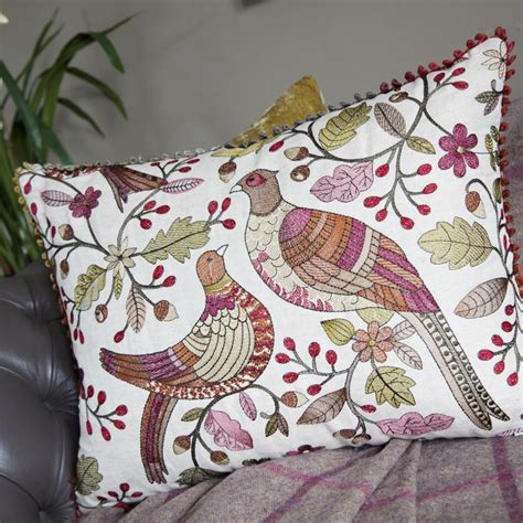Braided Rug Company by Braemar Partridge Embroidered Cushion Hawthorn From