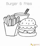 Coloring Burger Pages Fries Dog French Hamburger Drink Sheet Popular sketch template