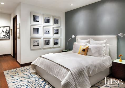 Bedrooms With Accent Walls by White Master Bedroom With Gray Accent Wall Luxe