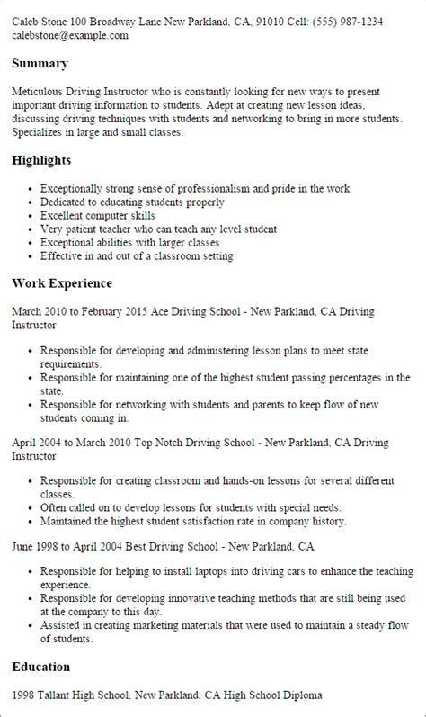 Traffic Resume Exle by Professional Driving Instructor Templates To Showcase Your Talent Myperfectresume