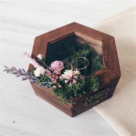 ring holder with moss and lavender ring bearer box wedding ring box rustic ring box wedding