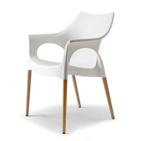 chaise blanche et pieds bois naturel natura o achat