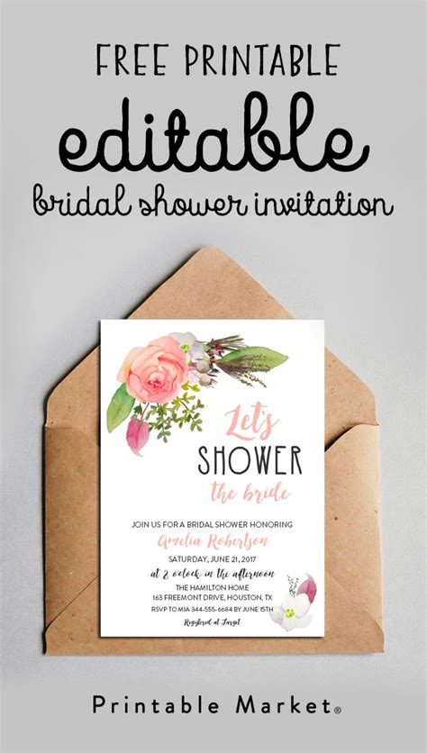 editable bridal shower invitation watercolor flowers