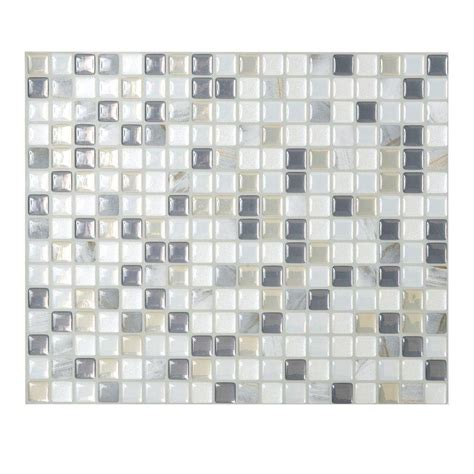 smart tiles minimo noche 9 64 in x 11 55 in adhesive decorative wall tile backsplash in grey
