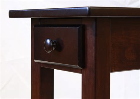 Narrow Maple Shaker Chairside End Table With Drawer