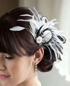 Wedding Hair Accessory Bridal Feather Fascinator Black