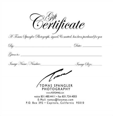 blank gift certificate templates