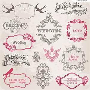 4-Designer   Vintage wedding floral border vector material