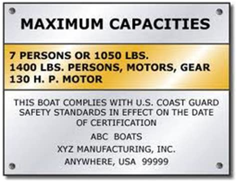 Boat Manufacturers Plate by Is Your Boat Overloaded Gt Rocky Mountain Rv Marine