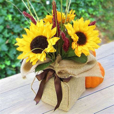 table centrepieces ideas 365 designs sunflower autumn bouquet wrapped in burlap